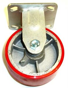 Rigid Plate Caster With Red Polyurethane On Steel 5 X 2 Wheel