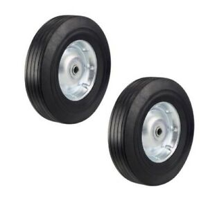 Two Heavy Duty Never flat 10 inch Solid Rubber Hand Truck Wheels Fits 1 2