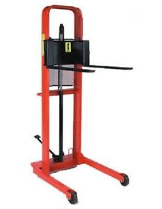 Manual Hydraulic Straddle Fork Stacker Esfl Lifts Ground Up To 56 High 1000