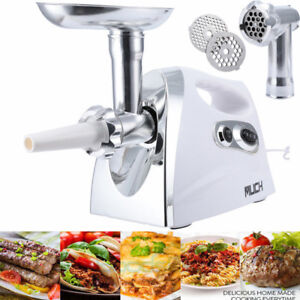 800w Electric Meat Grinder Mincer Sausage Stuffer Luxury White Stainless Steel