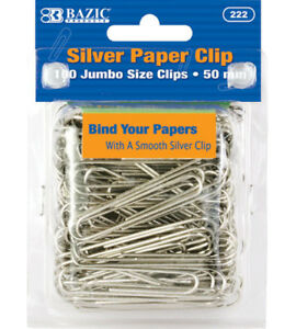 Bazic Jumbo 50mm Silver Paper Clip Set