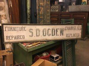 C1910 20 Antique Wooden Furniture Repair Shop Sign S D Ogden Sw Ct 68 X 14 5