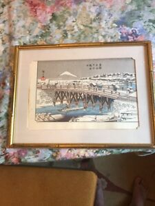 Antique Japanese Woodblock Print Snow Mountains Bay Hiroshige Bridge Rare