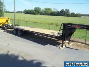 2 Carhauler Gooseneck 10 Ton Deckover Equipment Trailer 30ft Flat Bed 102in 25 5