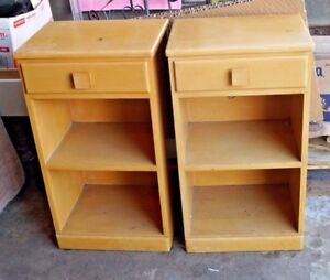 Mid Century Modern Atomic Nightstands Blond Wood Vintage Pair Will Ship