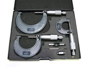 Micrometer Outside C type Carbide Tip 3 Pc Set 0 3 New