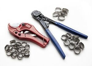 Pex Kit Pipe Tube Crimper Crimping Tool Plumbing Cutter 35 Rings Cinch Clamps