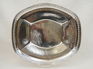 Hammered Sterling Silver Large Reticulated Bread Tray Wilcox Wagner 9 52ozt