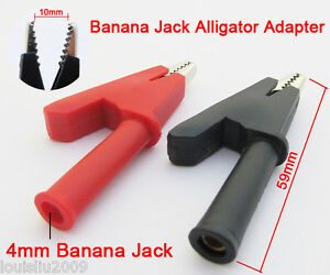 50x Alligator Clip To 4mm Banana Jack Insulate Clamp 2 Color Red Black Open 10mm