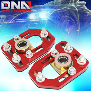 For 1979 1989 Ford Mustang Front Aluminum Adjustable Camber Caster Plates Red