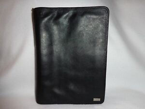 Franklin Covey Flexible Black Soft Nappa Leather Classic Sz Zipper Close Planner