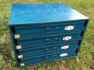 Vintage Industrial Small 4 Drawer Parts Cabinet Bin Work Bench Top