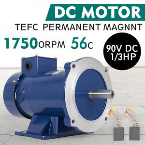 Dc Motor 1 3hp 56c Frame 90v 1750rpm Tefc Magnet Smooth Grease Permanent Usa