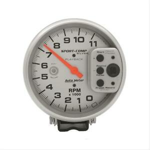 Autometer Sport Comp Playback Tachometer 0 11 000 5 Dia Silver Face 3965