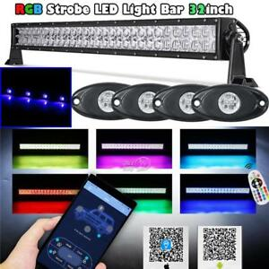 32 inch Rgb Led Light Bar Color Changing Flashing 4x Blue Rock Lights Tractor