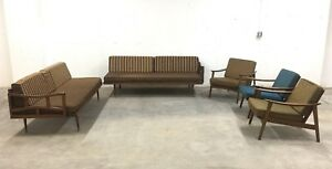 Mid Century Sectional Sofa Daybed 3 Lounge Chairs 5 Pc Livingroom Set As Is