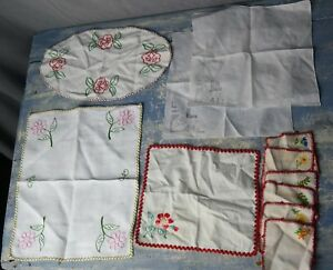 Job Lot 11 Vintage Antique White Linens Doilies Handkies Embroidered Lace