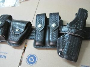 Police Duty Gun Leather Belt Security law With Extras Fits Glock Lot Aa503