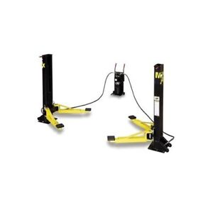 Car Lift Maxjax Portable 2 Post Black Yellow Powdercoated 6000 Lb Capacity
