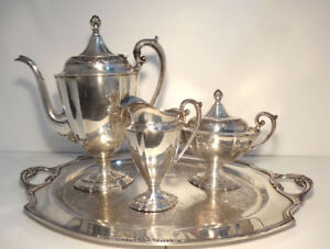 1847 Rogers Bros Eternally Yours International Silver Plate Coffee Pot Tea Set