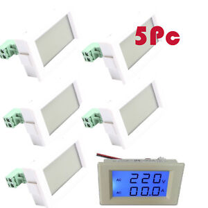 5pc Dual Led Digital Volt Meter Ammeter Voltage Amp Power Ac100 300v 50a