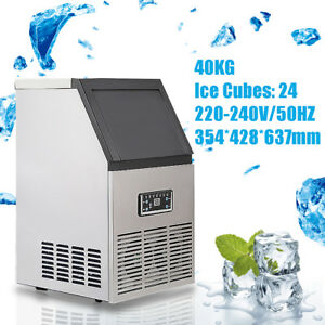 40kg Auto Commercial Ice Cube Maker Machine Stainless Steel Bar Restaurant 200w