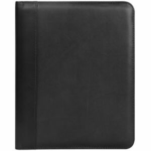 Andrew Philips Bonded Leather Nylon Writing Pad Holder In Black