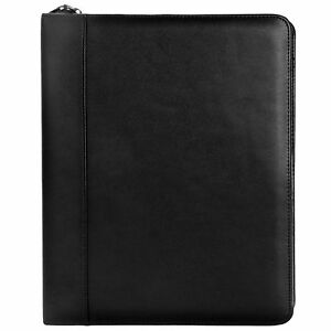 Andrew Philips Florentine Napa Leather Zip around 1 3 ring Binder In Black