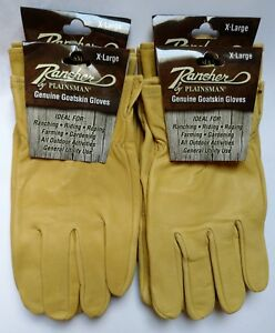 4 Pairs Rancher By Plainsman Goatskin Leather Wholesale Work Gloves Ex Large