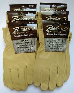 6 Pairs Rancher By Plainsman Goatskin Leather Wholesale Work Gloves Large
