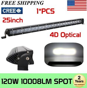 1x 32 in 120w Single Row Led Light Bar Slim Suv Offroad Bumper Gmc Ute 4wd 180w