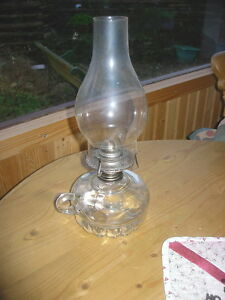 1960s 70s Usa Lamplight Clear Pressed Glass Table Finger Oil Lamp