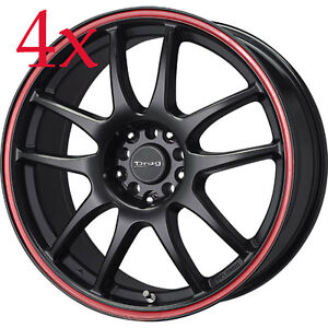 Drag Wheels Dr 31 15x6 5 4x100 4x114 Flat Black W Red Stripe Rims For 240sx S14