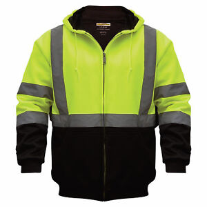 Class 3 Hi vis Hooded Soft Shell Parka Lime black Medium uhv425
