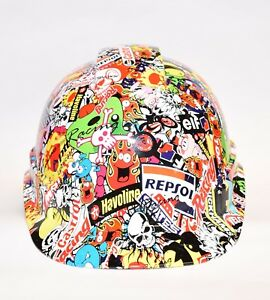Ridgeline Vented Cap Style Hard Hat Custom Hydrodipped In Racing Sticker Bomb