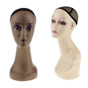 2pcs Female Plastic Mannequin Wig Hair Hat Foam Display Head Model Stand