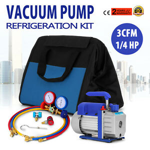 3cfm Air Vacuum Pump Hvac A c Refrigeration Kit Ac Manifold Gauge Set