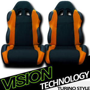 2x Ts Sport Blk Orange Cloth Fabric Reclinable Racing Bucket Seats W Sliders V22