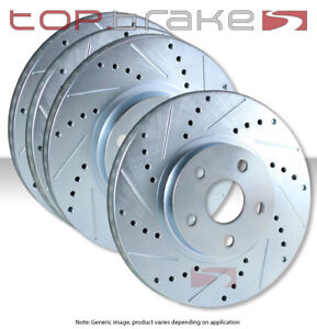 Front Rear Set Performance Cross Drilled Slotted Brake Disc Rotors Tbs94873