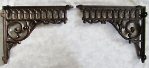 Pair Victorian Eastlake Cast Iron Wall Corner Shelf Brackets 10 5 X 8 75 New