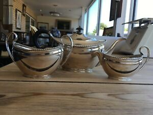 Three Piece Vintage Silver Plate Tea Service With Bakelite Handles C 1930