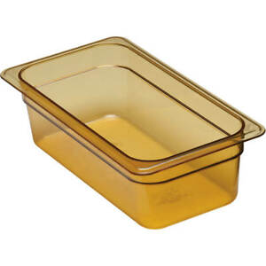Cambro 1 3 Gn Steam Table Pans High Heat Plastic 4 Deep 6pk Amber 34hp 150