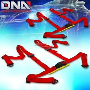 Universal Jdm Pair X2 Sets 4 Point Red Racing Harness Seat Belt Belts Mounting