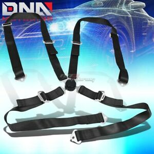 Universal 4 Point 2 Black Nylon Strap Harness Safety Camlock Racing Seat Belt