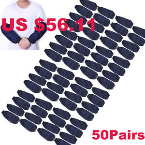 50pairs Welding Arm Sleeves Denim Heat Protection Cut Resistant Welding Safety