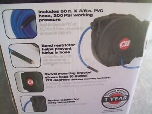 Campbell Hausfeld Retractable 50ft Air Hose Reel With Swivel Bracket Brand New