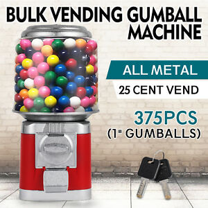 Bulk Vending Gumball Machine Polycarbonate Globe Candy Accepts Quarters Only