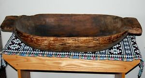 36 Antique Carved Wooden Dough Bowl Primitive Wood Trencher Rustic Usa Seller