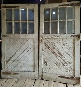 Antique Carriage Door Set 2 Measure 96 X 96 Overall Vtg Barn Garage Old Paint