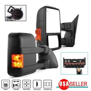 For 99 07 Ford F250 f550 Superduty Towing Mirrors Pair Power Heated Amber Signal